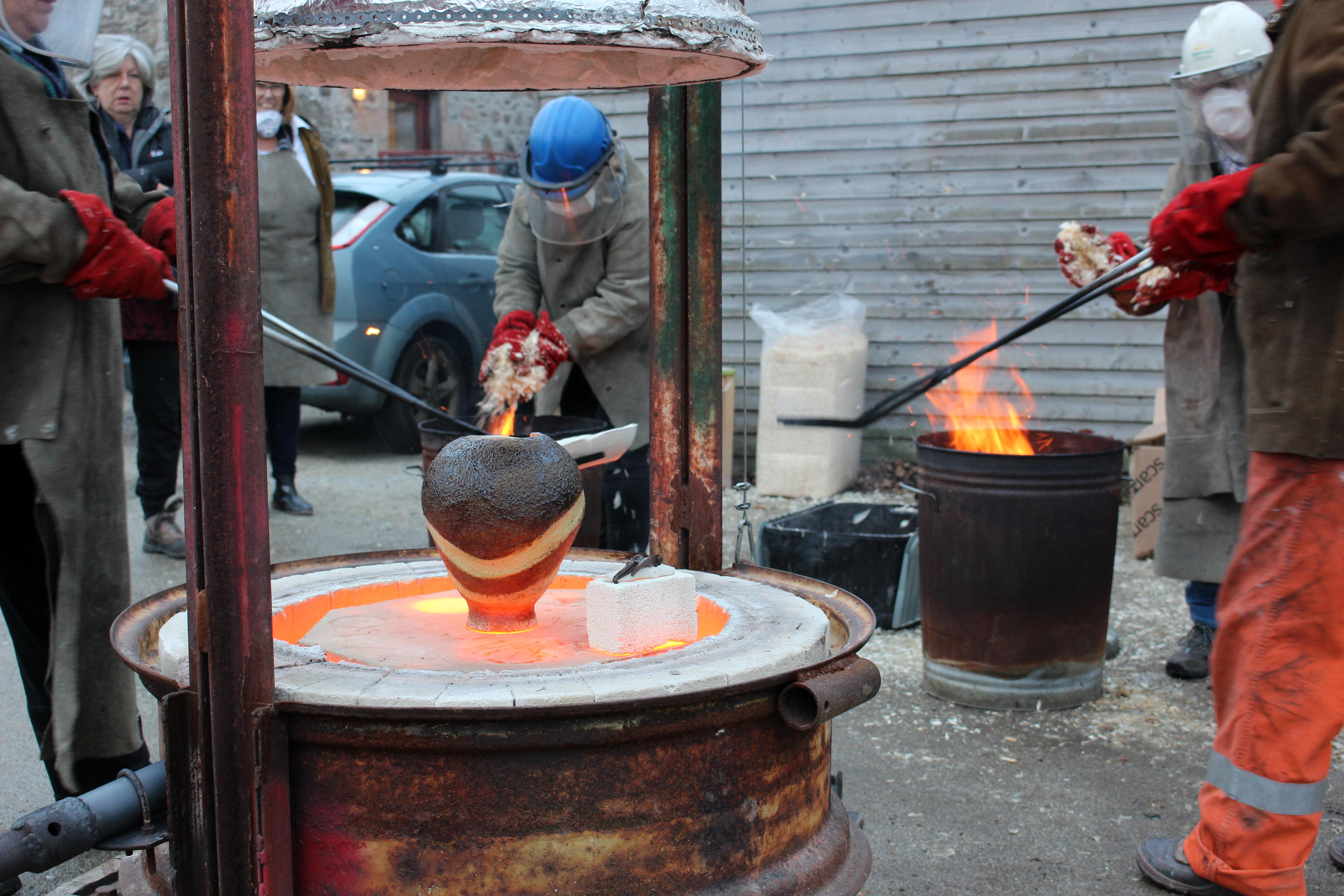 A large vase coming out of the raku kiln