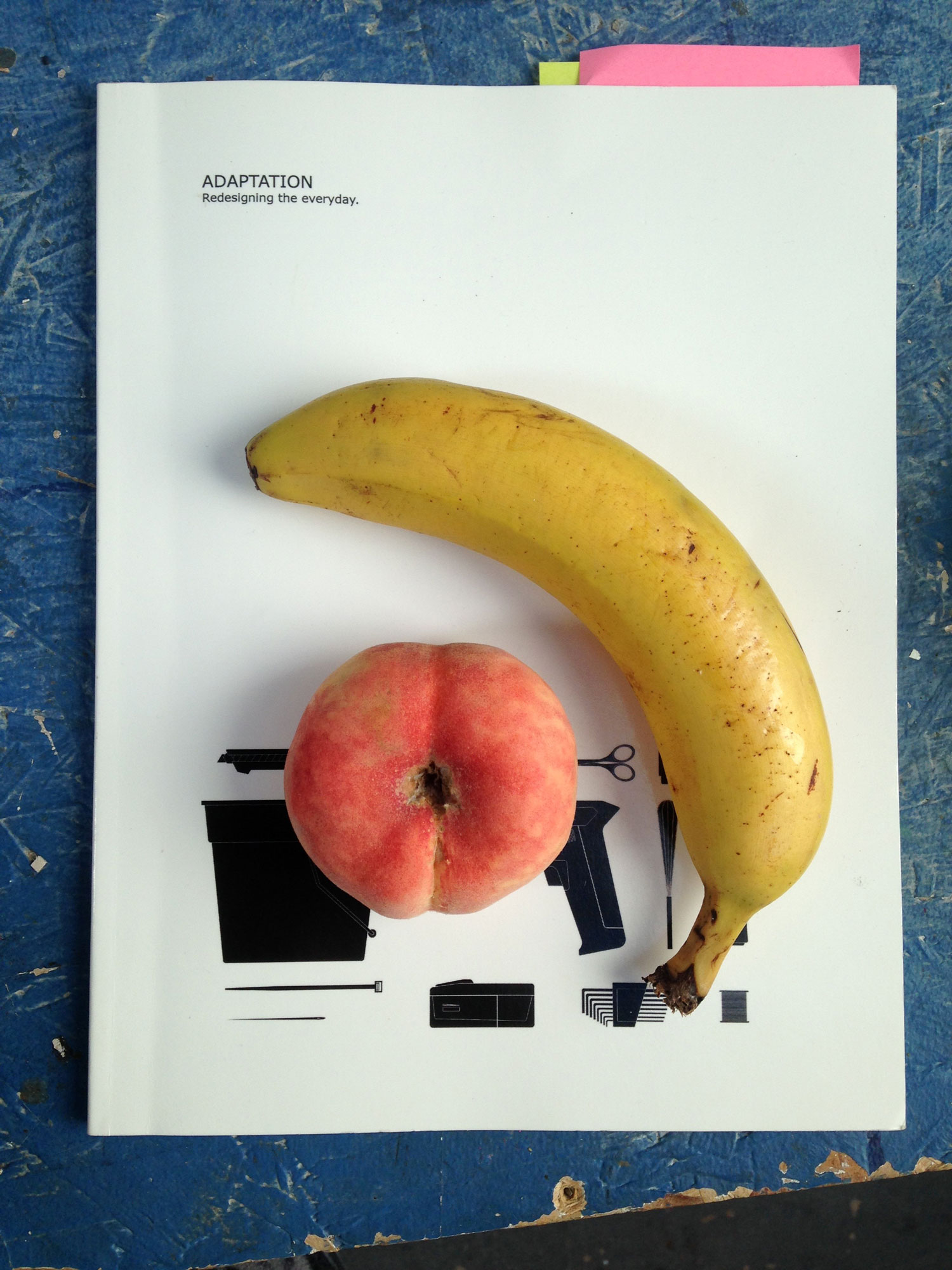 Adaptation: Redesigning the Everyday book with banana and peach placed on top