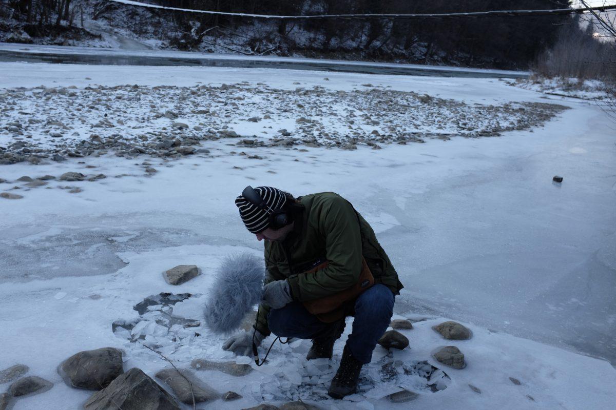 Sholto Dobie recording snow