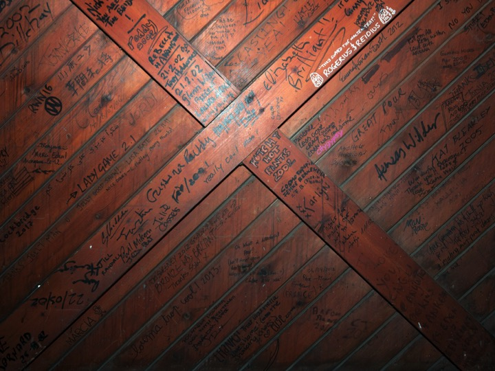 Signatures on the foundry door