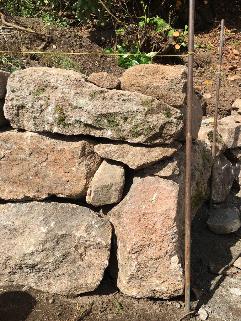 dry stone walling in progress