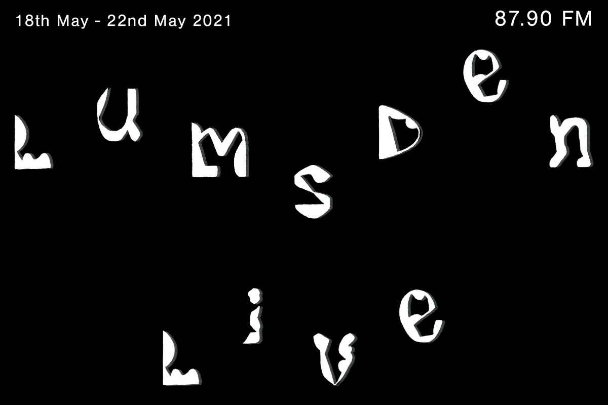 White wiggly text on a black background reads 'Lumsden Live 87.9'
