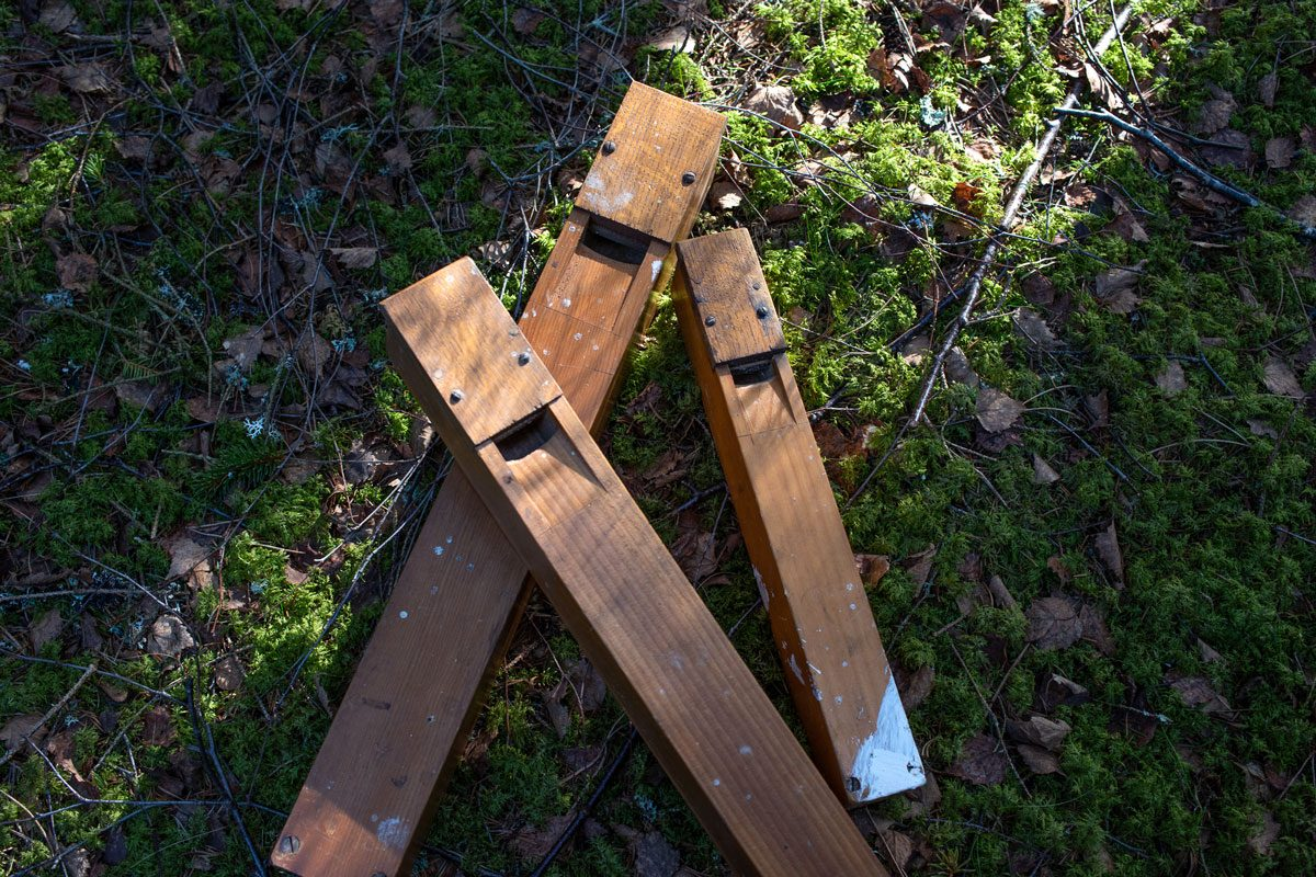 three wooden reeds from a church organ stacked on some green moss